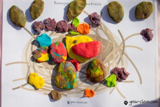 лепим птиц и яйца в гнезде, шаблоны для лепки, игры с детьми летом, творчество с детьми летом