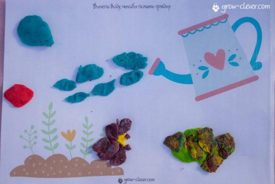 лепим цветы в саду, шаблоны для лепки, игры с детьми летом, творчество с детьми летом