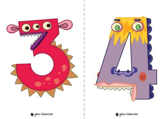 карточки с цифрами для детей, монстрики карточки детские, обучающие для малышей