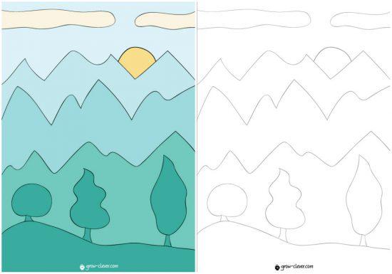 Воздушная перспектива, арт класс для детей, уроки рисования для детей