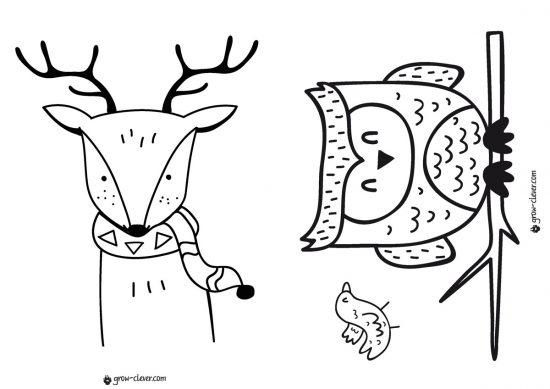 раскраска олень, раскраска сова, новогодние раскраски для детей скачать бесплатно, раскраски для малышей