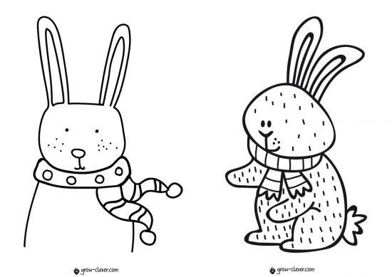 раскраска заяц, раскраска кролик, новогодние раскраски для детей скачать бесплатно, раскраски для малышей