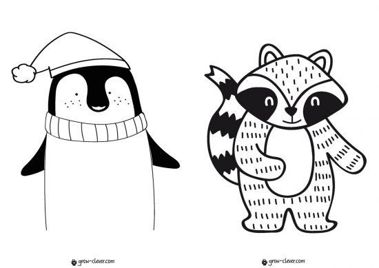 раскраска пингвин, раскраска енот, новогодние раскраски для детей скачать бесплатно, раскраски для малышей