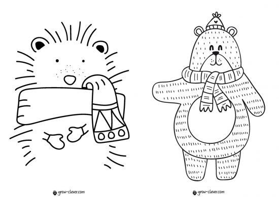 раскраска ёжик, раскраска медведь, новогодние раскраски для детей скачать бесплатно, раскраски для малышей